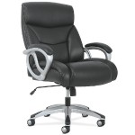 Big & Tall High-Back Executive Chair - Classic Black Leather and Silver Mist-Finished Frame