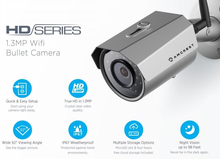 Amcrest Technologies Outdoor 960P 1 3 Megapixel (1280TVL) WiFi Wireless IP  Security Bullet Camera - IP67 Weatherproof, 1 3MP (1280x960) - Silver