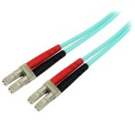 Aqua OM4 Duplex Multimode Fiber Optic Cable - 100 Gb - 50/125 - LSZH - LC/LC - 2 m