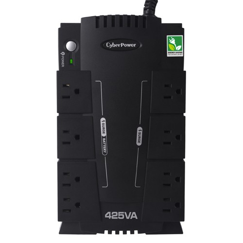 Compact UPS Battery Backup - 8 Outlets, 425 VA/255W, NEMA 5-15P, 5 ft, USB, Standby, GreenPower UPS High Efficiency, Surge Protection, Refurbished