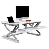 Loctek LX36 Wide Platform Height Adjustable Standing Desk Riser, Removable Keyboard Tray - White LX36W