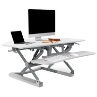 Loctek LXC41 Wide Platform Height Adjustable Standing Desk Riser, Removable Keyboard Tray - White LXC41W