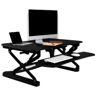 Loctek LX36 Wide Platform Height Adjustable Standing Desk Riser, Removable Keyboard Tray - Black LX36B