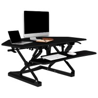 Loctek LXC41 Wide Platform Height Adjustable Standing Desk Riser, Removable Keyboard Tray - Black LXC41B