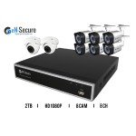 8 Channel HD Security Surveillance System, 6 Bullet 2 Dome Night Vision Indoor/Outdoor 1080p Cameras, 2TB HDD, Smart Phone Compatible