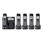KX-TGF545B - Cordless phone - answering system - Bluetooth interface with caller ID/call waiting - DECT 6.0 - black + 4 additional handsets