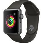 Apple Watch Series 3 GPS, 38mm Space Gray Aluminum Case with Gray Sport Band