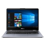 "VivoBook Flip 14 TP410UA DH54T - Flip design - Core i5 8250U / 1.6 GHz - Win 10 Home 64-bit - 8 GB RAM - 256 GB SSD - 14"" touchscreen 1920 x 1080 (Full HD) - UHD Graphics 620 - 802.11ac, Bluetooth - metal gray"