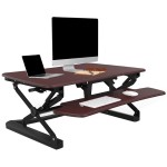 LX36 Wide Platform Height Adjustable Standing Desk Riser, Removable Keyboard Tray - Maple