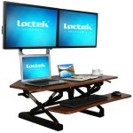 LXC41 Wide Platform Height Adjustable Standing Desk Riser, Removable Keyboard Tray - Maple