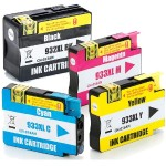 Remanufactured High Yield Black/933 Cyan/Magenta/Yellow 4-pack Ink Cartridge Alternative for HP 932XL (N9H62FN)