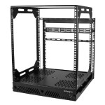 12U Slide-Out Server Rack - Rotating - 4-Post Rack - Rack - open frame - floor mountable - black - 12U