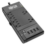 Protect It! 6-Outlet Surge Protector, 4 USB Ports, 6 ft. Cord, 1080 Joules, Diagnostic LED, Black Housing