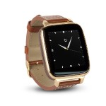 Full Function Smart Watch for Apple/Android devices. Classical Elegance with Communications, Fitness, Music & Camera control. Gold with brown calfskin leather strap - Refurbished