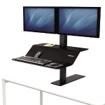 Lotus VE Sit-Stand Workstation - Desk mount for 2 LCD displays / keyboard / mouse - wood veneer - black ash