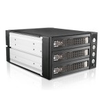 "2x 5.25"" to 3x 3.5"" 2.5"" SAS SATA 6 Gbps HDD SSD Hot-swap Rack with Key Lock"