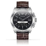 Titan Smartwatch Stainless Steel with Brown Strap - OLED display, Water-resistant, Premium Natural Leather , Bluetooth, For iOS and Android Smartphones