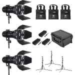 Wasp 100-C LED Spot 3 Light Kit with 3 Stands and Case (Custom Foam)