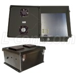 18x16x8 Inch 120 VAC Black Weatherproof Enclosure With Dual Cooling Fans