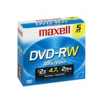 Maxell DVD-RW 4.7 GB 2x - Storage Media - Pack of 5 635125