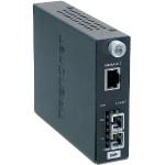 Intelligent 1000Base-T to 1000Base-LX Single-Mode SC Fiber Converter (20km/12.4miles)