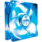 80MM Case Fan Tricool Blue LED Fan with 3 Speed Switch