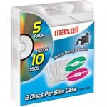 Maxell Double Slimline Jewel Cases - Clear - 5 Pack (CD-391) 190130