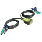 Iogear 2-Port MiniView Micro KVM switch with 6 ft. Cables Built-in GCS62