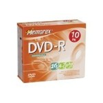 Memorex 16x 4.7GB DVD-R Media (10-Pack Slim Jewel Cases) 32025669