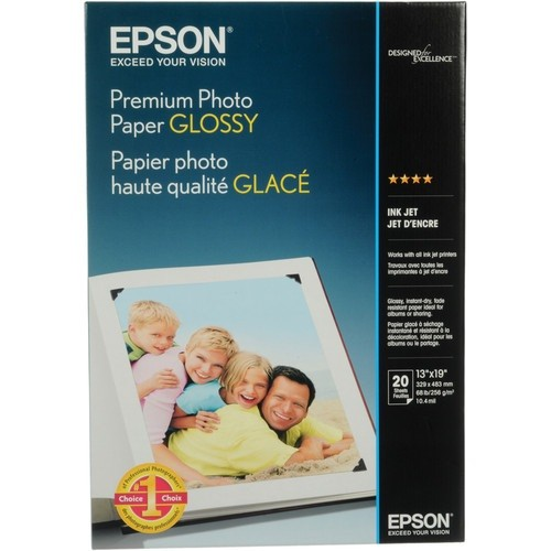 PCM | Epson, Premium Glossy Photo Paper - Glossy - Super B (13 in x 19 in)  20 sheet(s) photo paper - for Expression Photo HD XP-15000