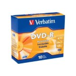 Verbatim 4.7GB 16x Branded DVD-R Media with Slim Case - Pack of 10 95099