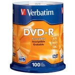 Verbatim DVD-R 4.7GB 16x Branded Media, 100-Pack Spindle 95102