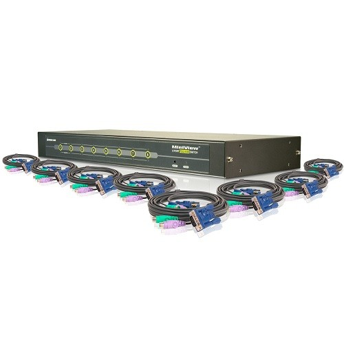 Iogear 8-Port KVM Switch Kit, PS/2, w/KVM Cables