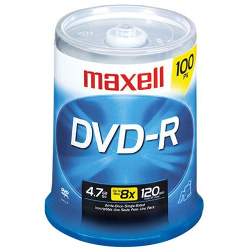 Maxell 16x 4.7 GB/120 Minute DVD-R Media, 100-Pack Spindle
