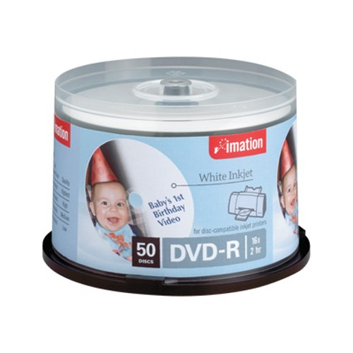 Imation DVD-R 16X White Inkjet Printable Spindle