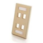 4-Port Single Gang Multimedia Keystone Wall Plate - Ivory