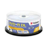 Verbatim DVD+R DL 8.5 GB 2.4x - spindle - storage media - 20 pack 95310