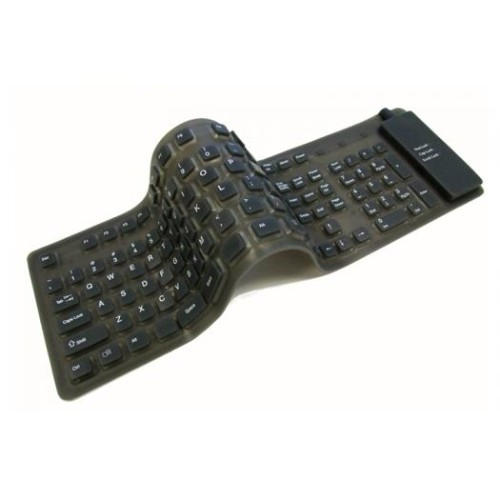 Adesso Flexible Full-Sized Keyboard - USB + PS/2 - Black
