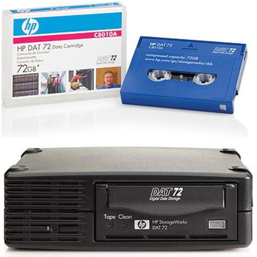 HP SmartBuy StorageWorks DAT72 SCSI External Tape Drive Bundled with 4x HP DAT72 72GB 170m Data Cartridges