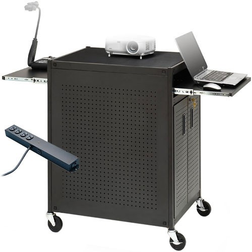 Bretford Manufacturing Rack Mounted Presentation Cart with 4-Outlet Electrical Assembly
