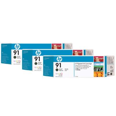 HP91 3-pack 775-ml Matte Black Ink Cartridges(C9480A)