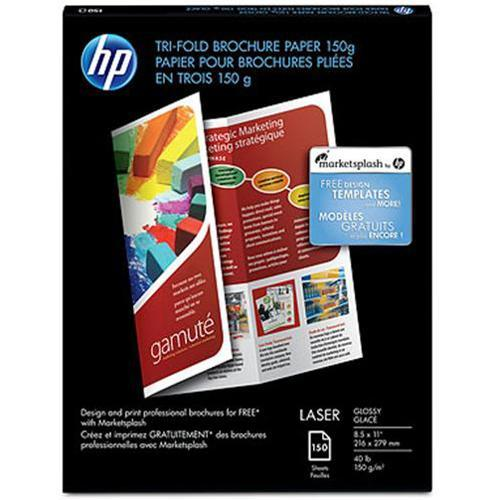 HP Laser Glossy Tri-fold Brochure Paper - 8.5 x 11 in (150 sheets)