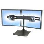 DS100 Dual-Monitor Desk Stand, Horizontal - Stand for dual flat panel - aluminum, steel - black - screen size: up to 24""