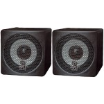 3'' 100 Watt Black Mini Cube Bookshelf Speaker - Black, Pair