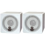 3'' 100 Watt White Mini Cube Bookshelf Speaker In White - Pair