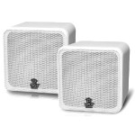 4'' 200 Watt White Mini Cube Bookshelf Speaker In White - Pair