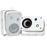 3.5'' Indoor/Outdoor Waterproof On-Wall Speakers - White, Pair