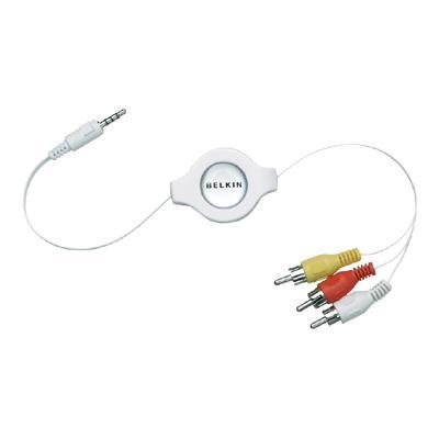 BelkinRetractable Television Cable for iPod - video / audio cable - composite video / audio - 5 ft(F3X1923-05-BLK)
