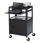 Basics Adjustable Projector Cart with Cabinet CA2642NS - Cart for projector / notebook - steel - black powder - screen size: up to 20""