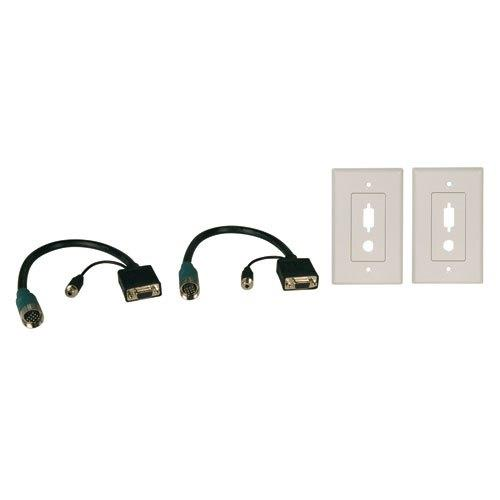 TrippLite Easy Pull Long-Run Display Connector Kit- Type-A Connector Kit w/ HD15 F/F, 3.5mm F/F & (2) Wall Plates, 1 ft. pigtails